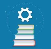 Icône de vitesses sur l'illustration de vecteur de conception d'icône de livres, concepts d'éducation Images libres de droits