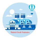 Icône de voyage des Emirats Arabes Unis Illustration de vecteur Images stock