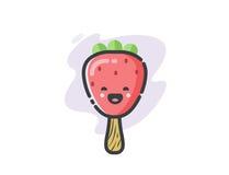 Icône drôle de crème glacée de fraise de vecteur Photo libre de droits