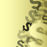 Icône du dollar d'argent sur l'or illustration stock