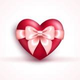 Icône du ` s de Valentine - coeur rouge brillant avec l'arc rose Photos libres de droits