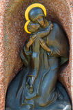 Icône en bronze de la mère de Dieu Photographie stock