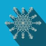 Icône en filigrane de flocon de neige de longue ombre Photos stock