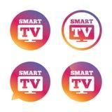 Icône en format large de signe de Smart TV Téléviseur Photographie stock