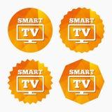 Icône en format large de signe de Smart TV Téléviseur Images libres de droits