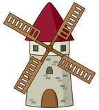 Icône en pierre de moulin à vent de bande dessinée Images libres de droits