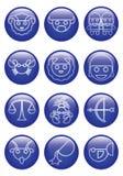 Icône en verre bleue de zodiaque de bande dessinée de trois dimensions dans la ligne conception Photographie stock