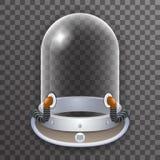 Icône en verre de fond de Transperent de rétro du casque 3d de cosmonaute d'astronaute affiche réaliste de Spaceman Scientist Tan illustration stock