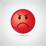 Icône fâchée d'émotion de personnes de visage rouge de bande dessinée illustration de vecteur