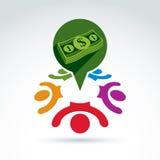 Icône financière et sociale de thème d'argent, les gens, équipe de travail, societ Image stock