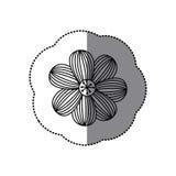 icône florale de fleur rayée de silhouette d'autocollant Images libres de droits