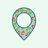 Icône florale de goupille dans le style plat d'isolement sur le fond bleu-clair Symbole de Pin pour une conception de site Web, l illustration libre de droits