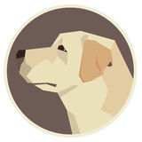 Icône géométrique de style de labrador retriever de collection de chien ronde illustration stock