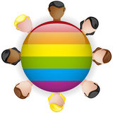 Icône gaie LGBT de foule de groupe de drapeau Photographie stock libre de droits