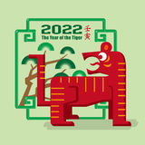Icône graphique de l'année chinoise du tigre 2022 Image libre de droits