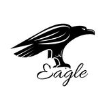 Icône héraldique noire d'oiseau d'aigle Photo stock