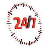Icône 24 heures sur 24 de service Photos stock