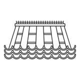 Icône hydro-électrique, style d'ensemble Photographie stock