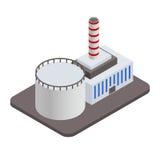Icône industrielle isométrique de bâtiments d'usine Image libre de droits