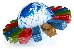 Icône internationale de transport de récipient Image stock