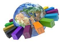 Icône internationale de transport de récipient Images libres de droits