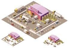 Icône isométrique de bâtiment d'entrepôt de vecteur basse poly illustration de vecteur