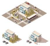 Icône isométrique de bâtiment de police de vecteur basse poly illustration de vecteur