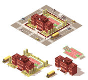 Icône isométrique de bâtiment scolaire de vecteur basse poly illustration libre de droits