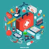 Icône isométrique de concept de soins de santé Image stock