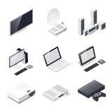 Icône isométrique de dispositifs de Home Entertainment Images libres de droits