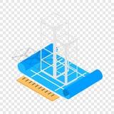 Icône isométrique de plan de construction de bâtiments illustration stock