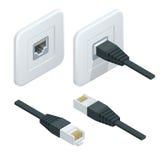 Icône isométrique de prise de réseau de vecteur Internet de réseau câblé de LAN illustration stock