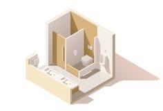 Icône isométrique de toilette publique de vecteur basse poly illustration stock