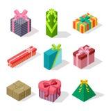 Icône isométrique de vecteur de boîte-cadeau d'isolement illustration stock