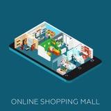 Icône isométrique en ligne de centre commercial Image libre de droits