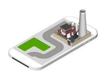 Icône isométrique représentant le bâtiment d'usine avec un tuyau, cisternae, barrière avec une barrière - se tenant sur le smartp illustration libre de droits