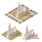 Icône isométrique d'église de vecteur basse poly Photo libre de droits