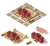 Icône isométrique de bâtiment scolaire de vecteur basse poly Photos libres de droits