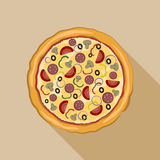 Icône italienne de pizza Illustration plate d'icône de vecteur de pizza Illustration Stock