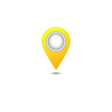 Icône jaune d'indicateur de carte Photos stock