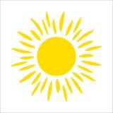 Icône jaune du soleil d'isolement sur le fond blanc Lumière du soleil plate, signe Symbole d'été de vecteur pour la conception de Photo libre de droits