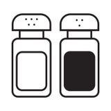 Icône linéaire de dispositifs trembleurs de sel et de poivre Photo stock