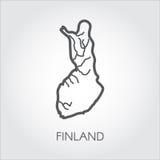 Icône linéaire de pays de la Finlande Carte abstraite de silhouette d'ensemble pour la cartographie, la géographie et d'autres be Images libres de droits