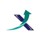 Icône logoinitial du saut abstrait X Photo libre de droits