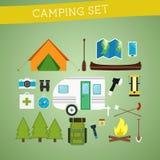 Icône lumineuse d'équipement de camping de bande dessinée réglée dedans Photographie stock libre de droits