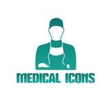 Icône médicale avec le docteur de chirurgien illustration stock