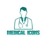 Icône médicale avec le thérapeute de docteur illustration de vecteur