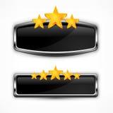 Icône métallique avec des étoiles Image stock