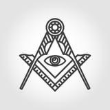 Icône maçonnique grise d'emblème de franc-maçonnerie de vecteur Images libres de droits
