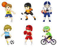 Icône masculine d'athlète de bande dessinée dans le divers type de sport Image stock